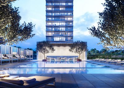 3D rendering sample of the pool deck at 2000 Ocean condo at night.