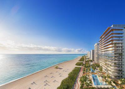 3D rendering sample of the exterior design for 57 Ocean condo.