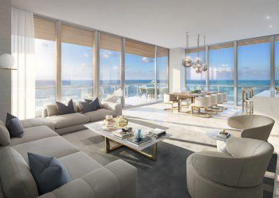 3D rendering sample of a great room design at 57 Ocean condo.