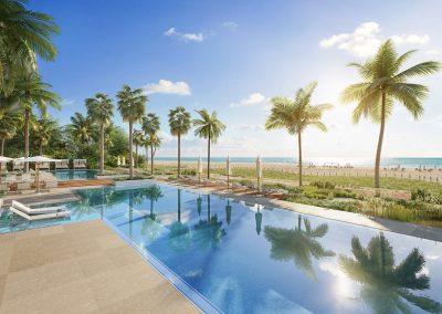3D rendering sample of the pool deck at 57 Ocean condo.