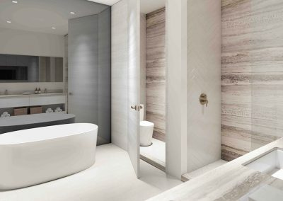 3D rendering sample of a bathroom design at Arbor Residences Miami condo.
