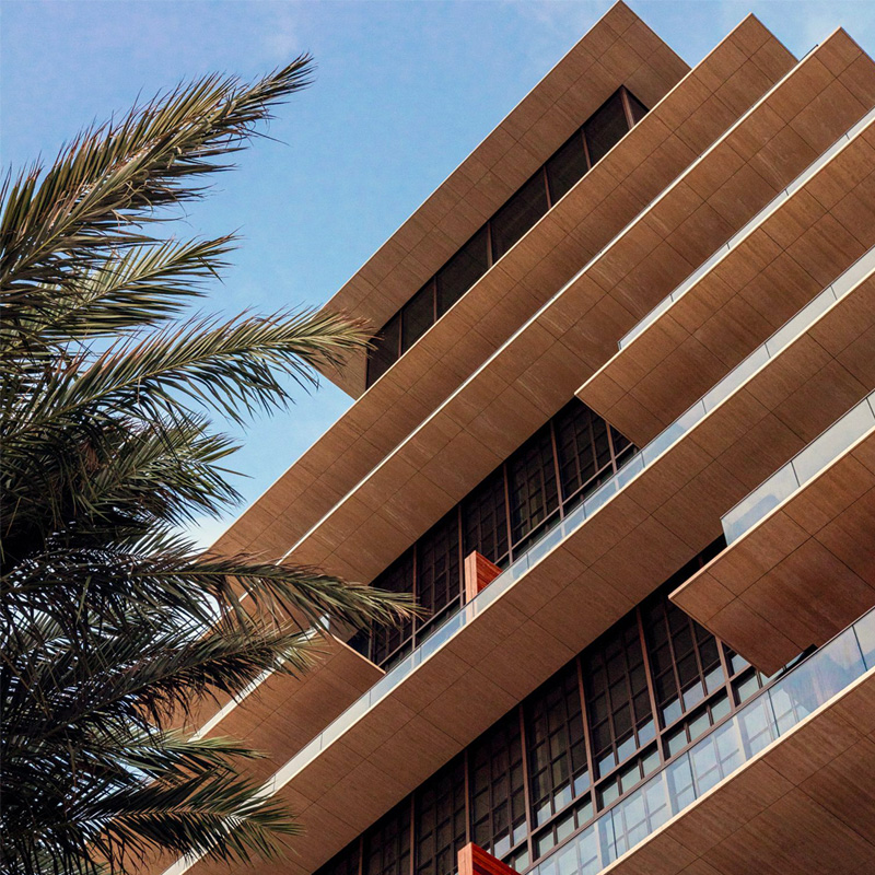 Photograph of the exterior design of Arte Surfside condo.