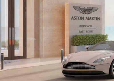 3D rendering sample of an Aston Martin car arriving at Aston Martin Residences' entrance.