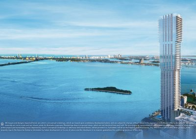 Aerial daytime photograph of Edgewater Miami showing a 3D rendering of Elysee Condo in its surroundings.