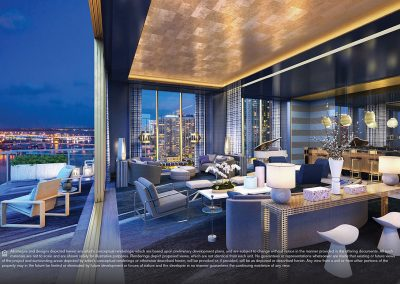 3D rendering sample at night of a large terrace and interior of a large living room at Elysee condo.