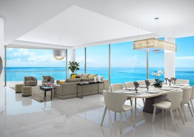 3D rendering sample of a dining room and living room design at The Estates at Acqualina condo.