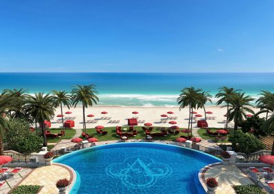 3D rendering sample of a pool deck design at The Estates at Acqualina condo.