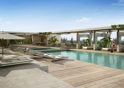 3D rendering sample of the pool deck at The Fairchild Coconut Grove condo.