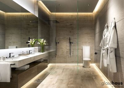 3D rendering sample of a modern bathroom design at GlassHaus condo.