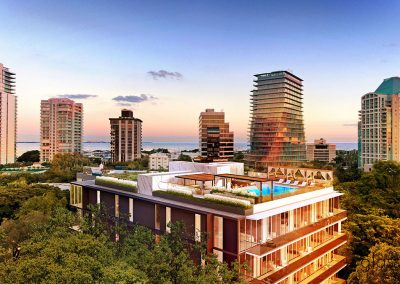 3D rendering of the rooftop pool deck at GlassHaus condo with neighboring buildings.