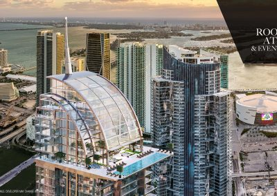 3D rendering sample of the atrium roof top deck and pool at Legacy Hotel & Residences condo.
