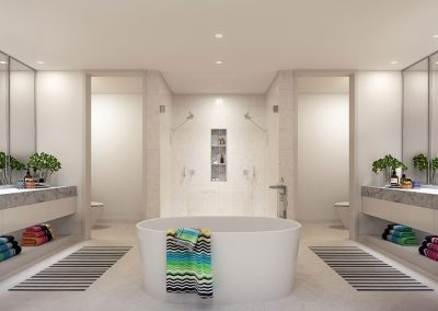 3D rendering sample of a large modern bathroom design at Missoni Baia condo.