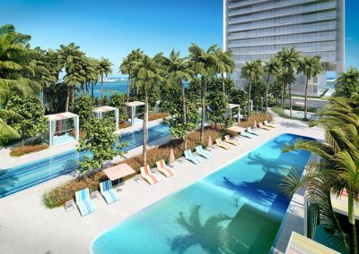 3D rendering sample of the pool deck design at Missoni Baia condo.
