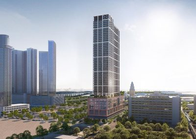 3D rendering sample of the building design for Natiivo Miami condo with neighboring buildings.