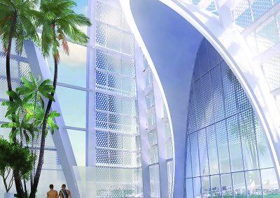 3D rendering sample of the roof top pool deck of Okan Tower condo.