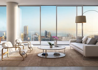 3D rendering sample of a modern living room design at One River Point condo.