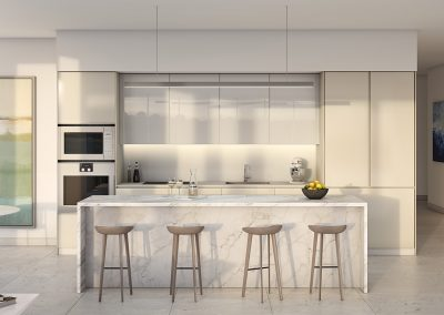 3D rendering sample of a white, modern kitchen design at One River Point condo.