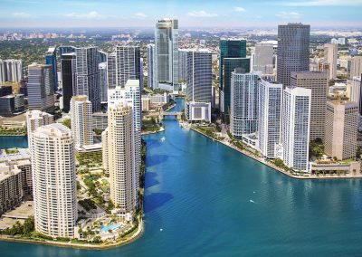 3D rendering sample of One River Point condo with neighboring buildings in Downtown Miami.