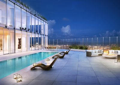 3D rendering sample of a penthouse design at One River Point condo with a private pool..