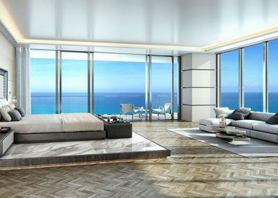 3D rendering sample of a large bedroom design at Turnberry Ocean Club condo.