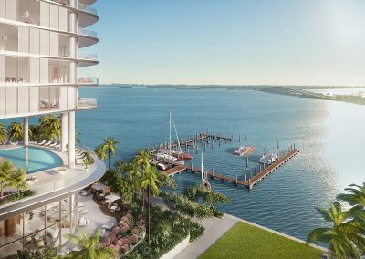 3D rendering sample of the private marina at Una Residences condo.