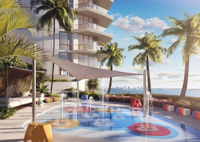 3D rendering sample of the children's splash pool design at Una Residences condo.