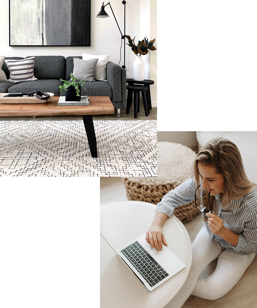Split image with a modern living room on top and a woman sitting on the floor searching on a computer in the lower part.